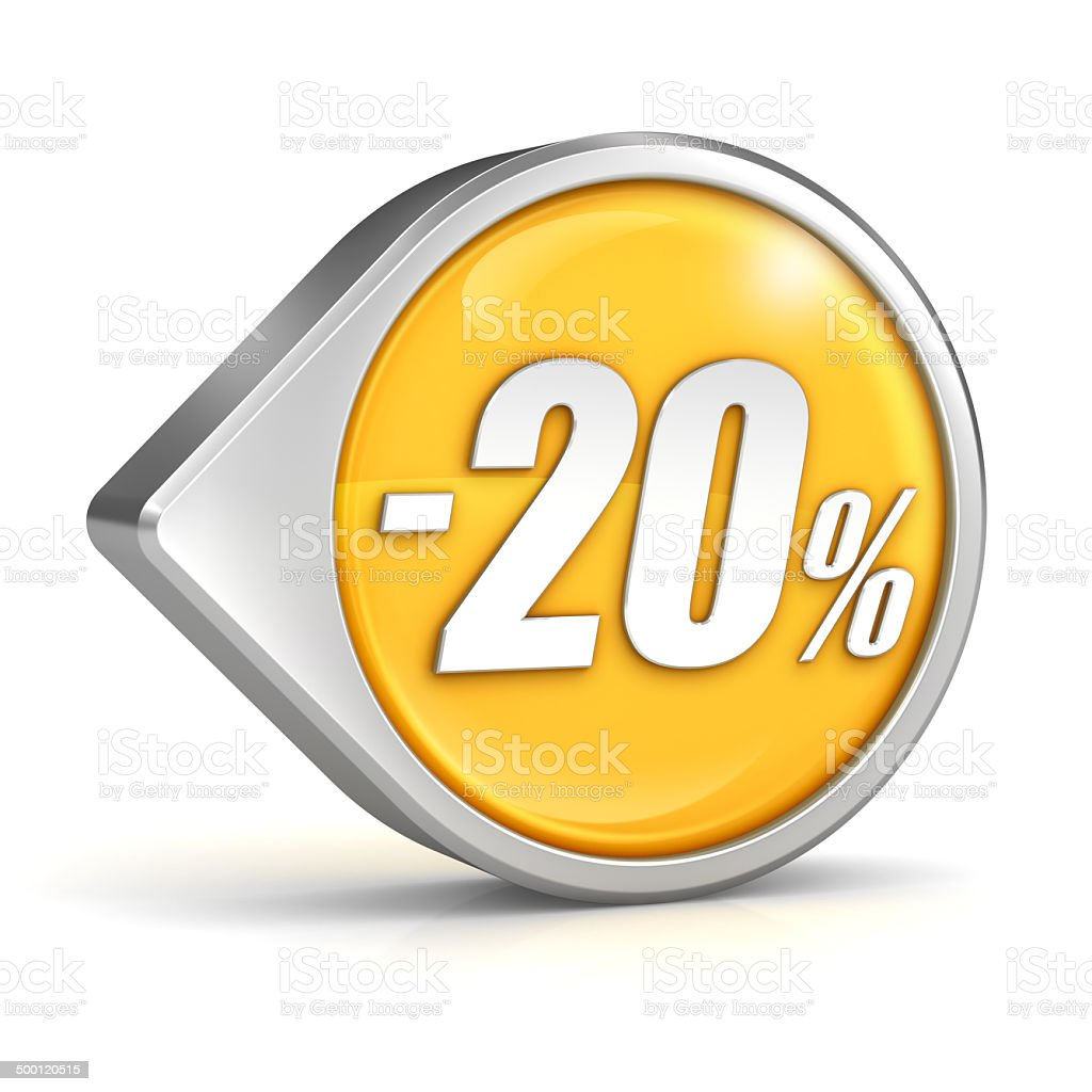 Discount sale 20% pointer icon isolated with clipping path stock photo