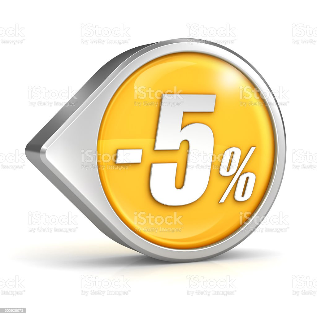 Discount sale 5% pointer icon isolated with clipping path stock photo
