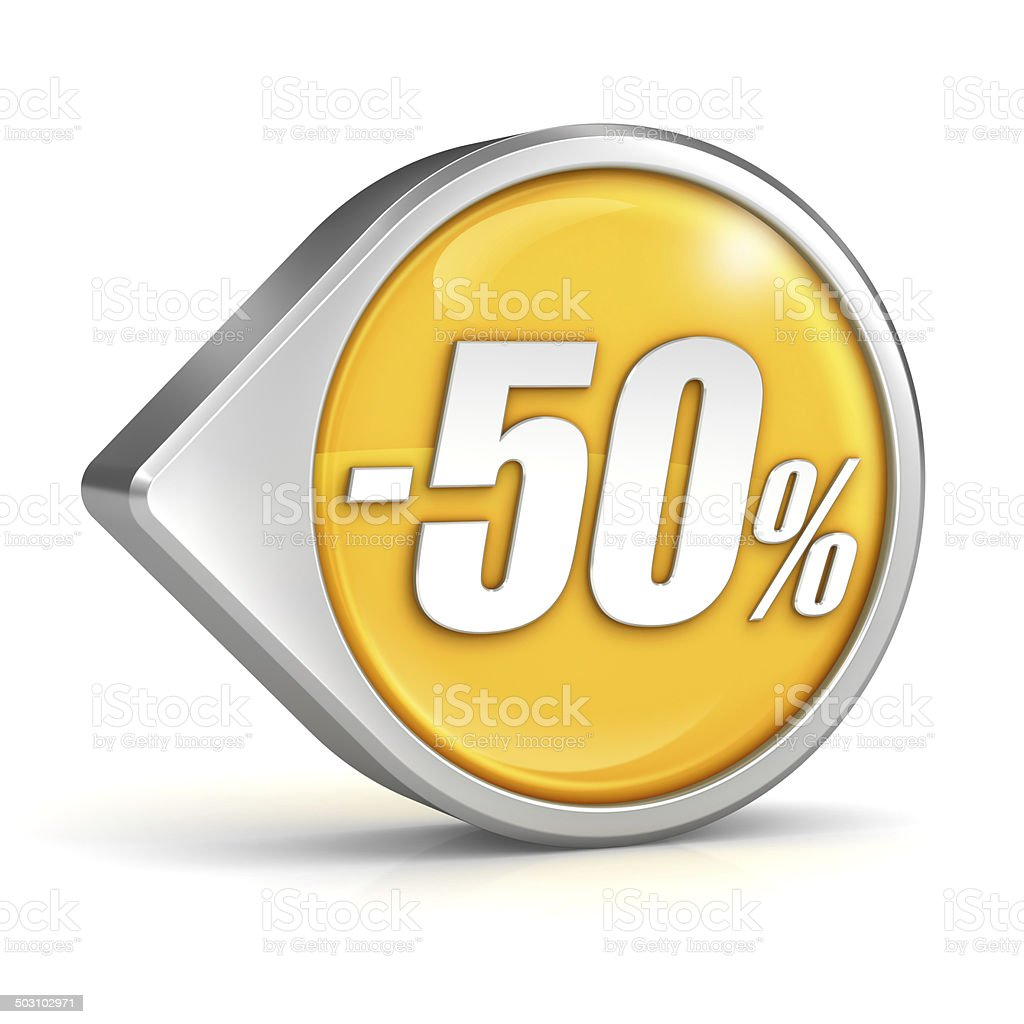 Discount sale 50% pointer icon isolated with clipping path stock photo