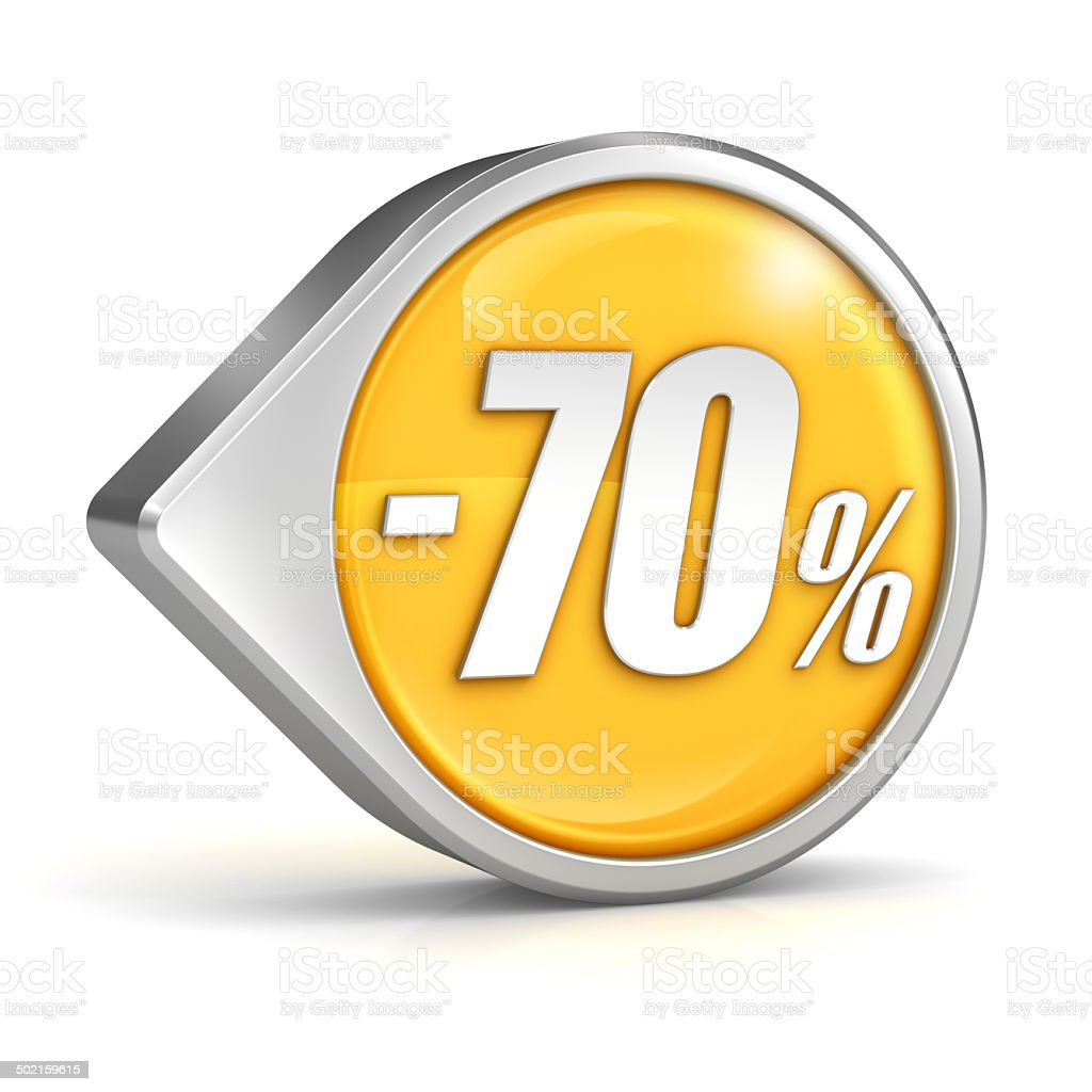 Discount sale 70% pointer icon isolated with clipping path stock photo