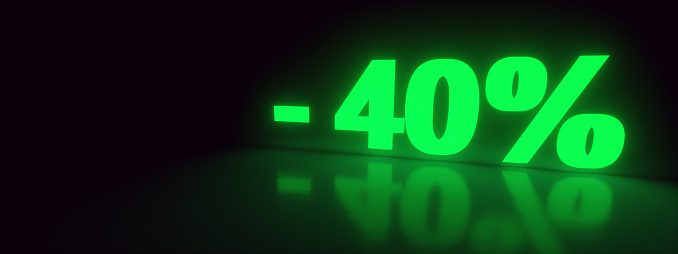 40% discount sale promotion off neon 3d rendered, panoramic image
