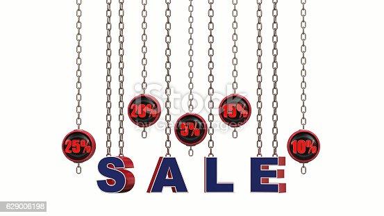 870618752 istock photo Discount Sale Set 3d rendering 629006198