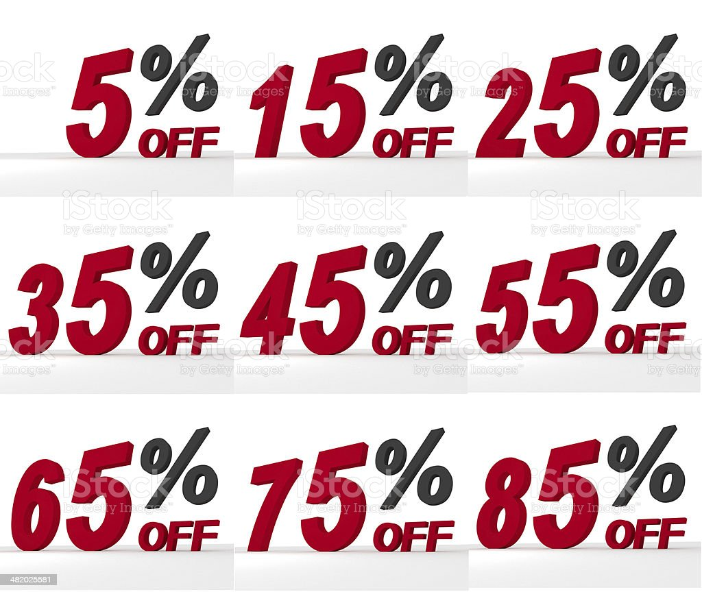 Discount Sale Symbols Set stock photo