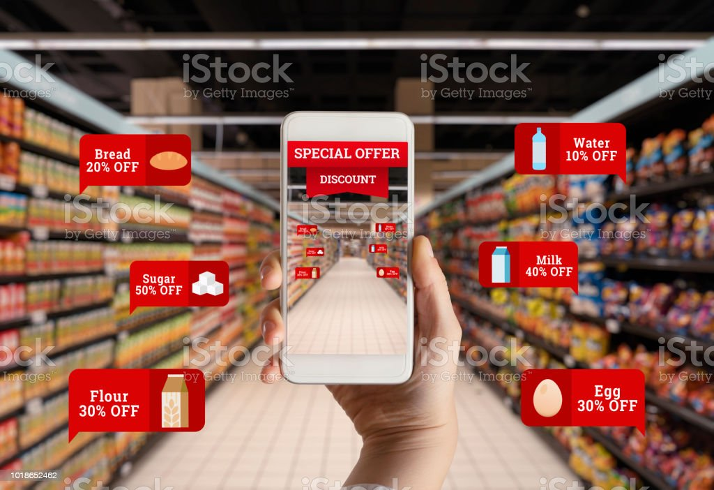 Discount Shopping in Supermarket stock photo