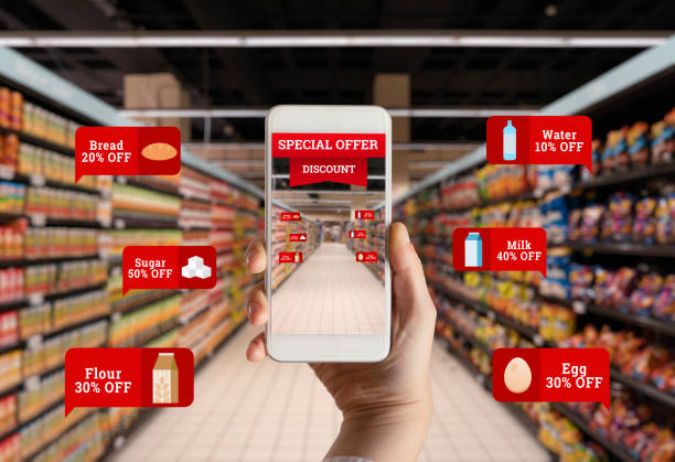 discount shopping in supermarket - augmented reality stock photos and pictures