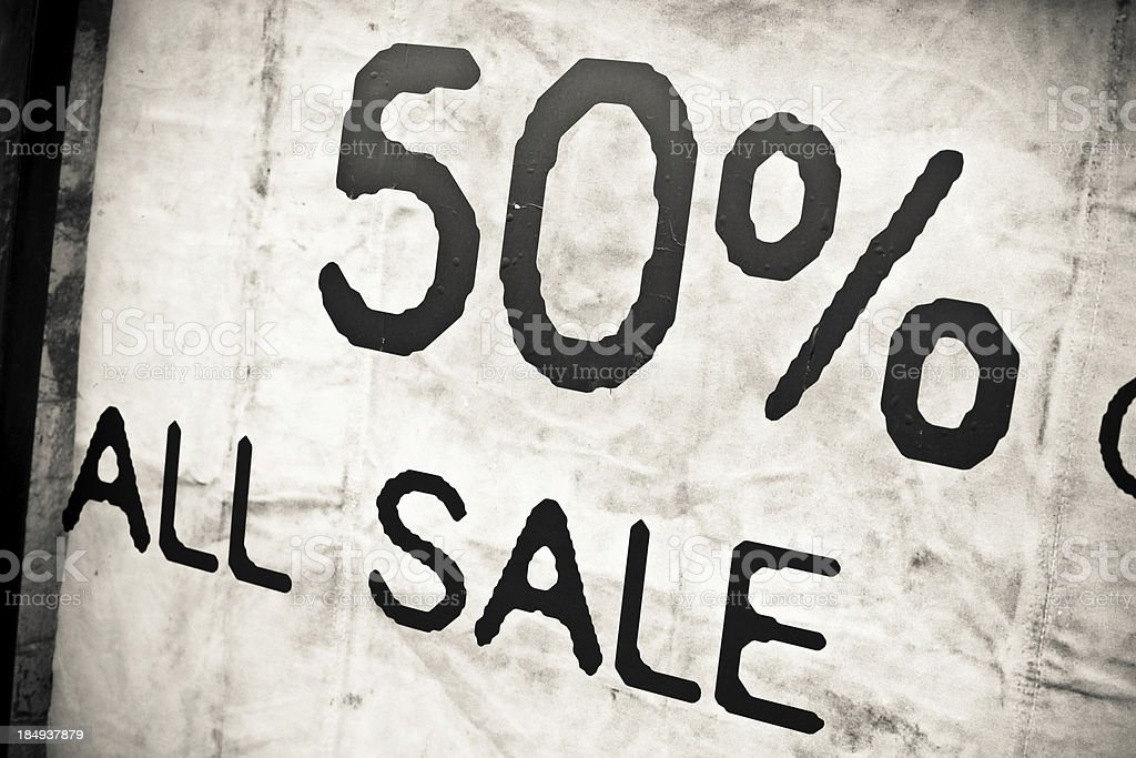 50% Discount Sign on a Shop, All Sale stock photo