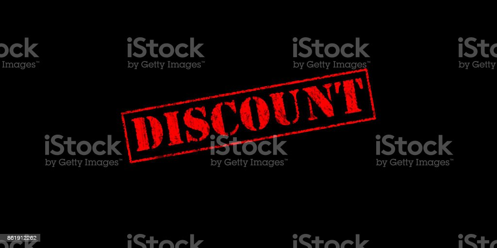 discount stencil rubber stamp on a black background with copy space stock photo