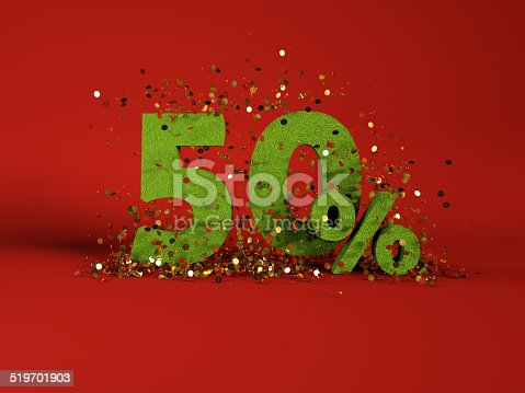 istock 50 % discount symbol on red background 519701903