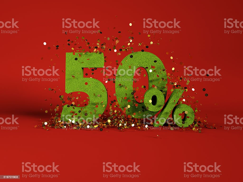 50 % discount symbol on red background stock photo