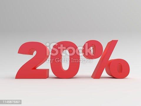 istock Discount symbol on white background 1145875301