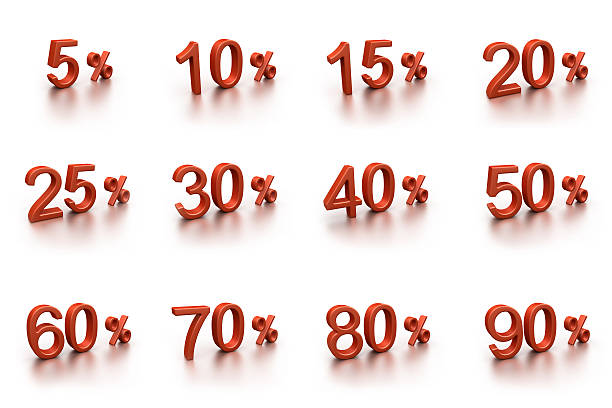 3D discounts collection (isolated on white) stock photo
