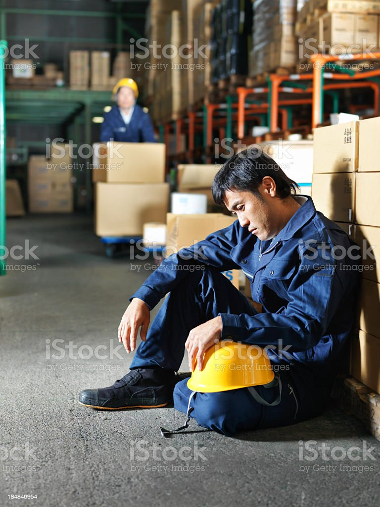 Discouraged Japanese Worker stock photo