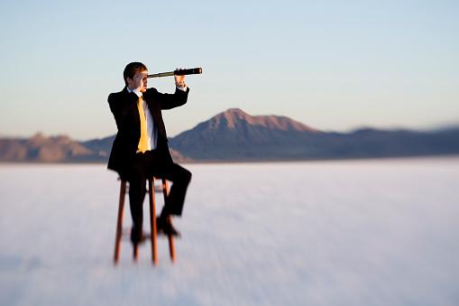Business concept. Taken at the Bonneville Salt Flats in Utah with lensbaby.