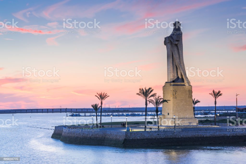 Discovery Faith Christopher Columbus Monument in Palos de Frontera, Spain stock photo