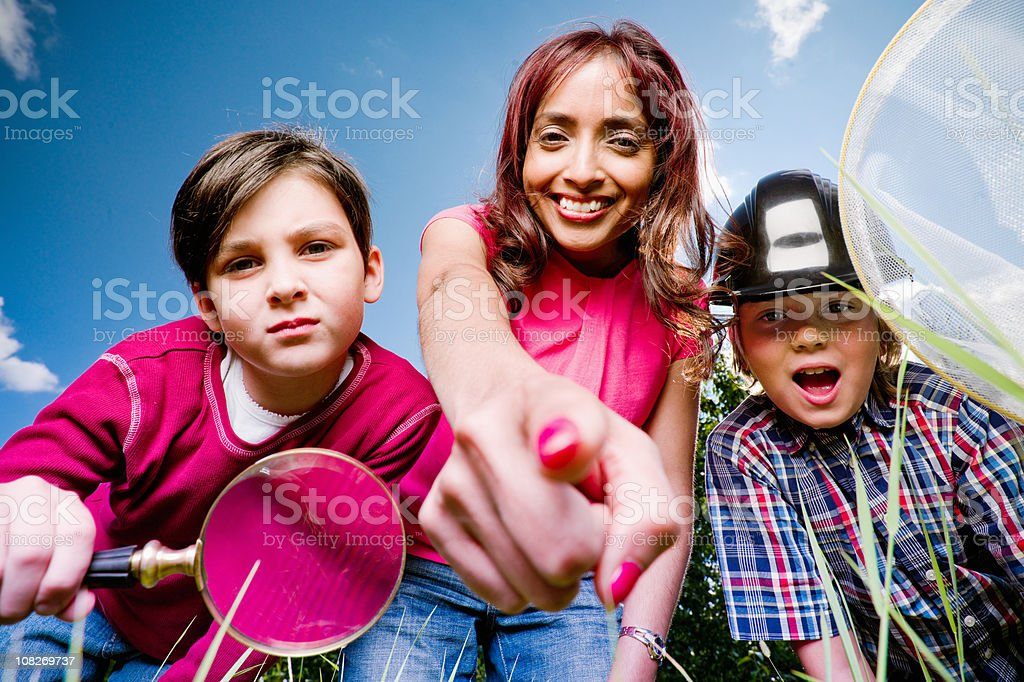 Discovery in the Nature. Children and Teacher. stock photo