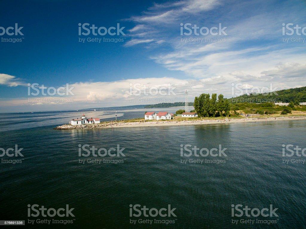 Discovery Park West Point Lighthouse and Shilshole Bay Seattle, Washington stock photo