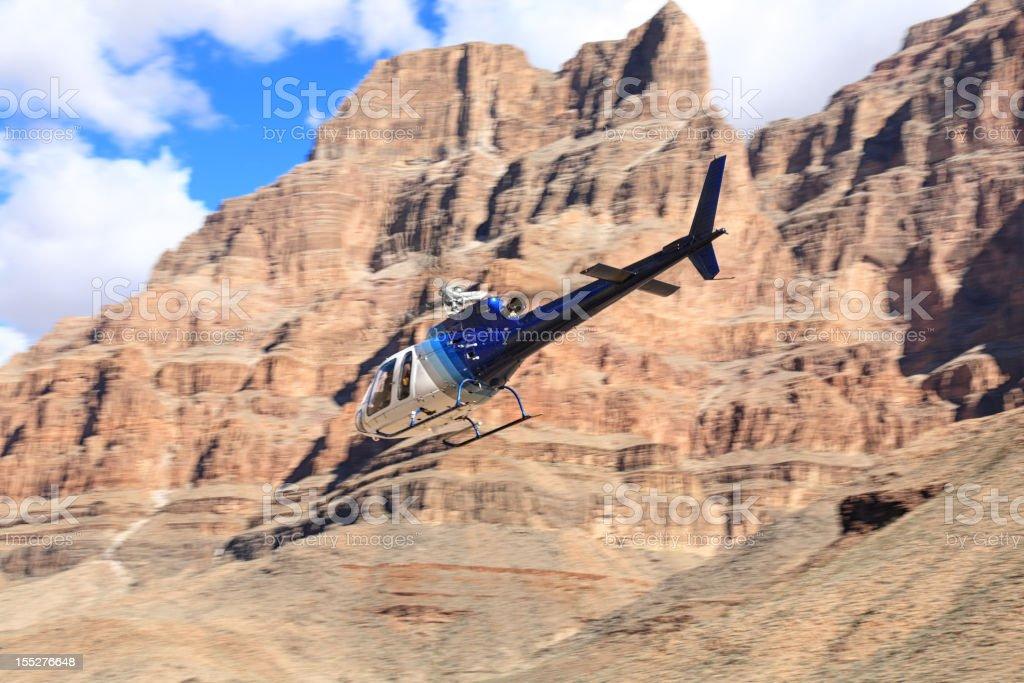 Chopper flying over Colorado River, Grand Canyon, West Rim, Arizona,...