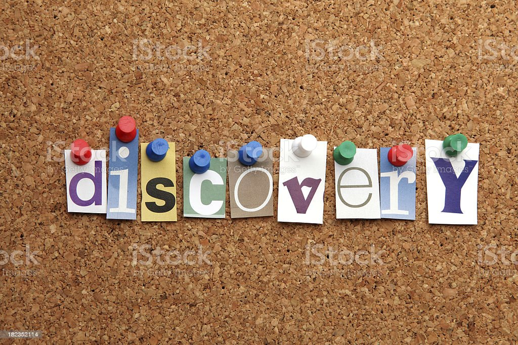 Discovery pinned on noticeboard royalty-free stock photo