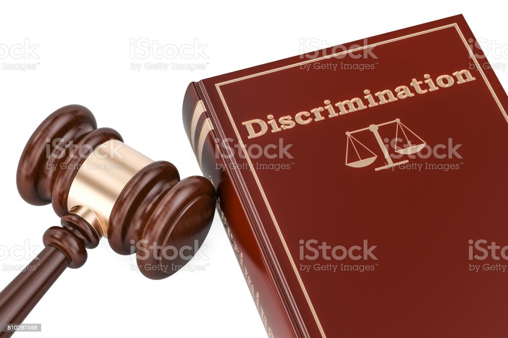 Discrimination concept with gavel and book, 3D rendering stock photo