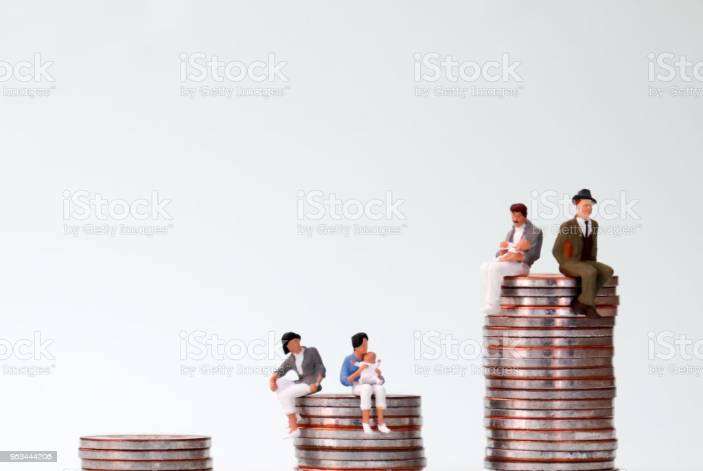 Discriminatory treatment concept for women and men at work. stock photo