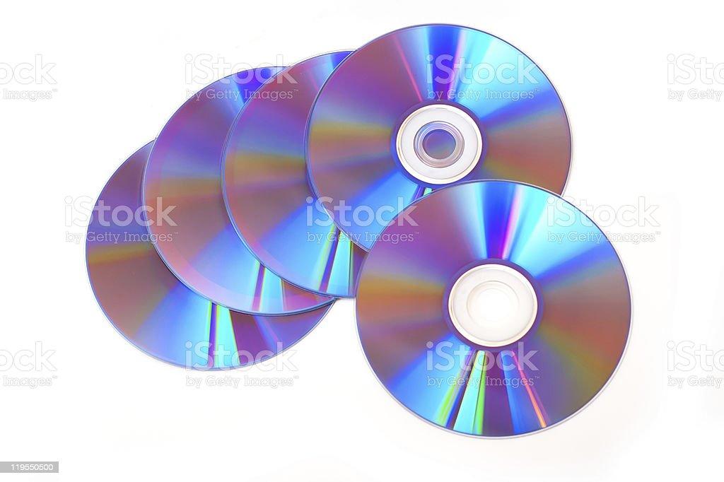 DVD discs isolated on white background stock photo