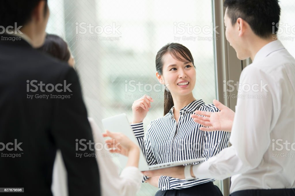 Discuss with a smile. stock photo