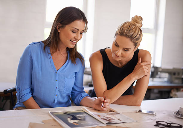 Discussing a new design stock photo