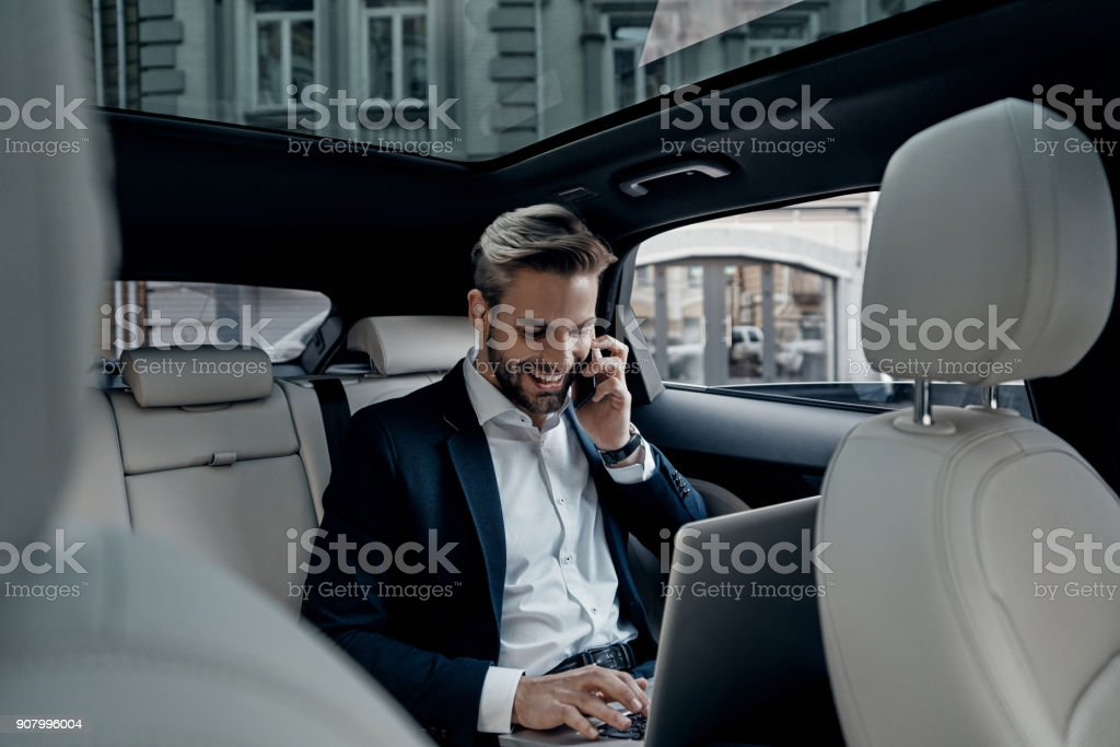 Discussing business details. stock photo