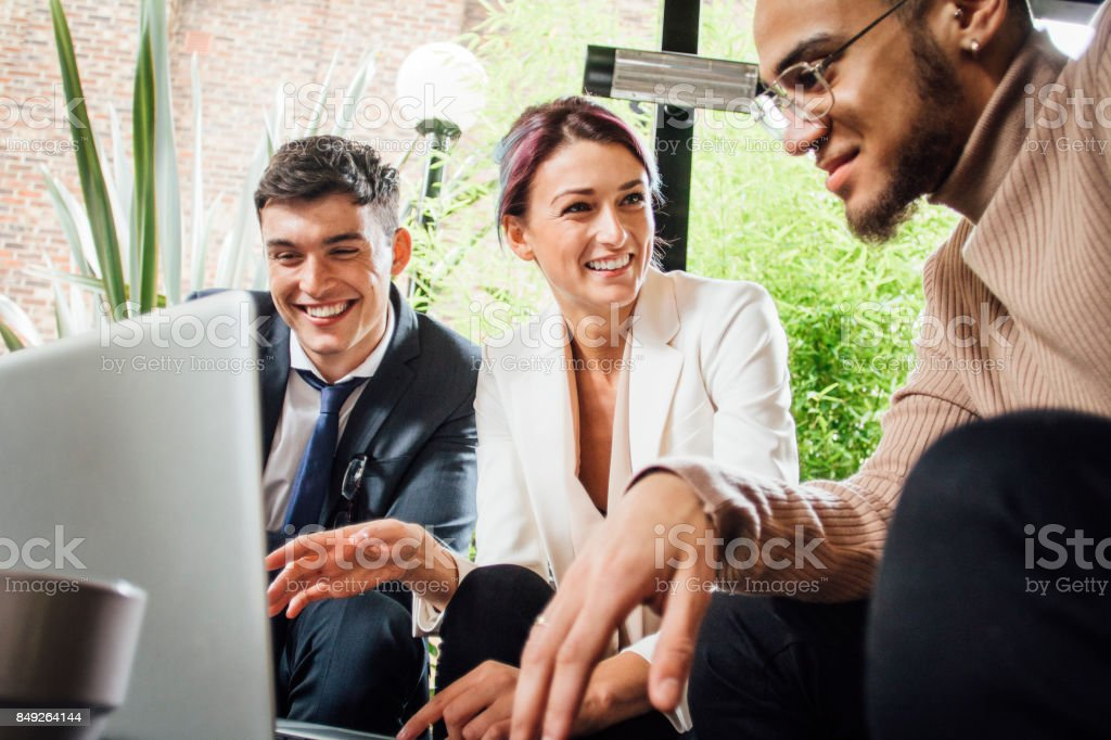 Discussing Business Over Coffee stock photo