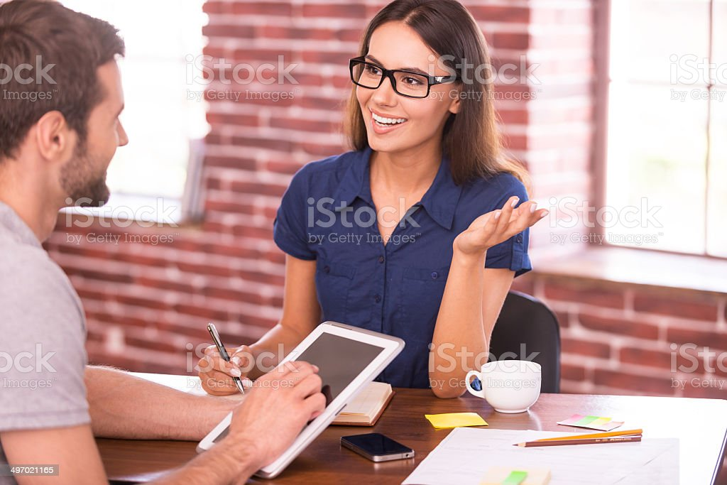Discussing business. stock photo