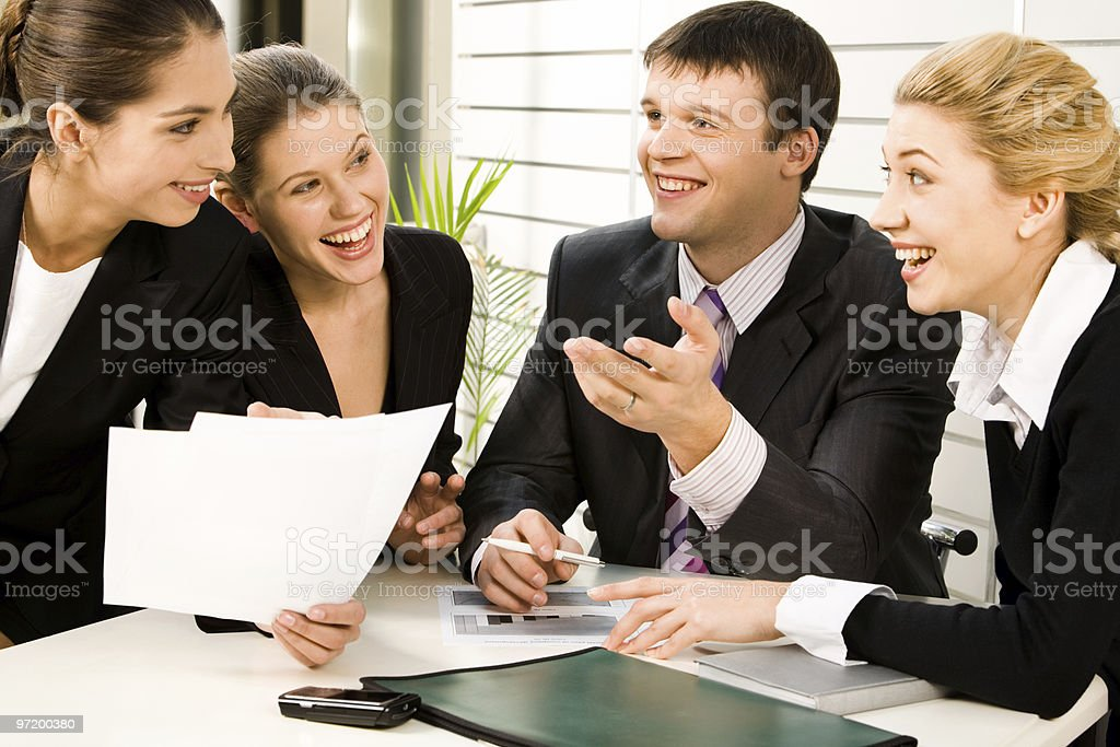 Discussing business plans royalty-free stock photo