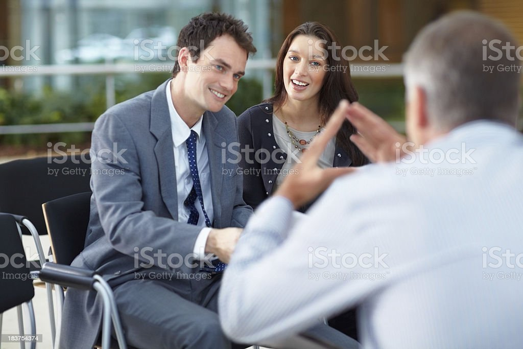 Discussing business strategy royalty-free stock photo