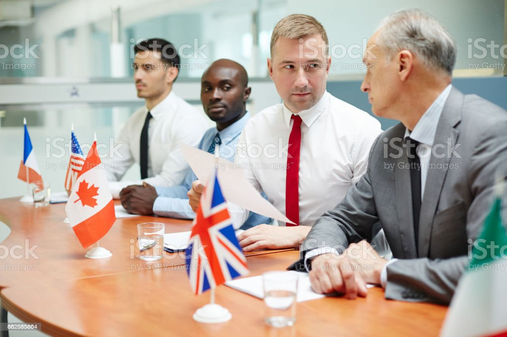 Discussing document stock photo
