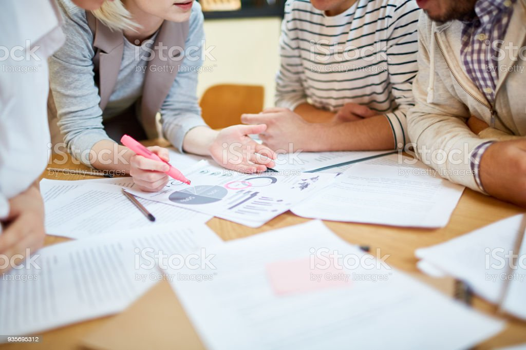 Discussing financial development stock photo