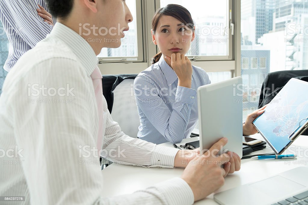 Discussing ideas. stock photo