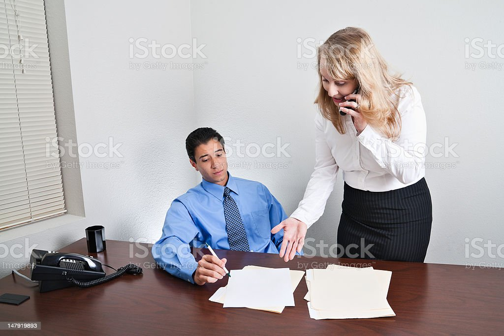 Discussing Issue over the phone royalty-free stock photo