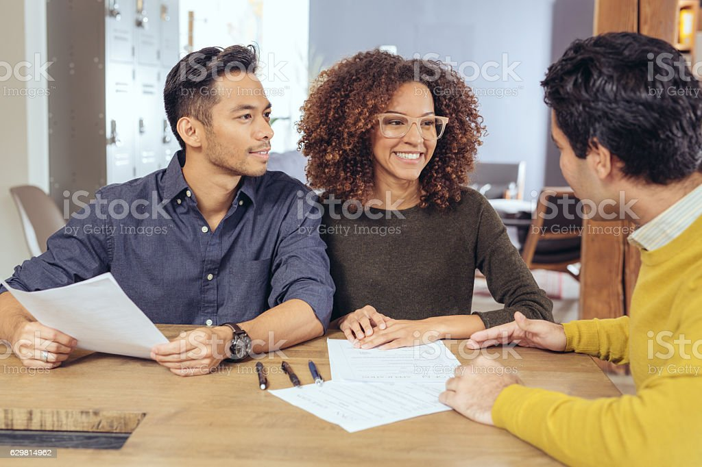 Discussing new financial strategy stock photo