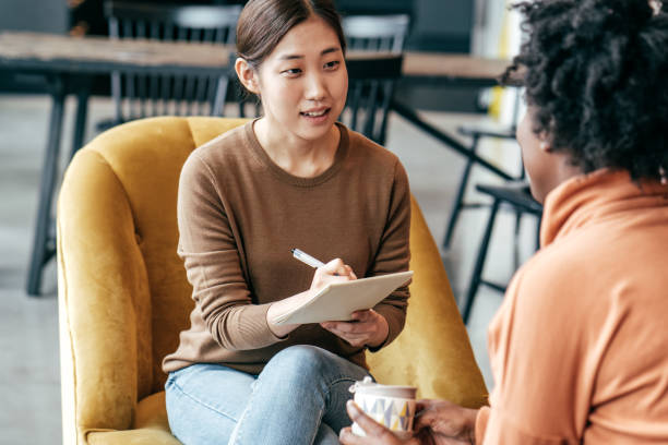 Discussing new marketing strategy stock photo