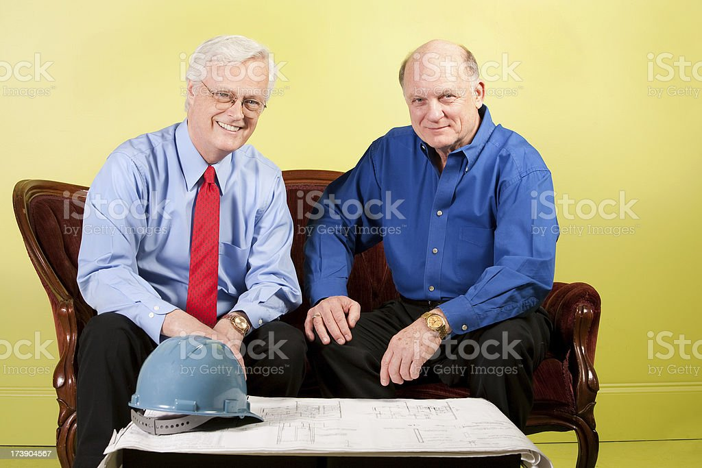 Discussing the Blueprint royalty-free stock photo