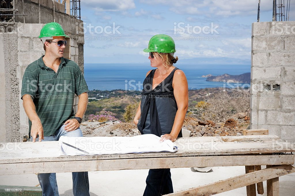 Discussing the building plans royalty-free stock photo