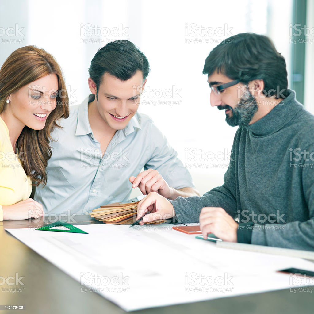 Discussing the future home royalty-free stock photo