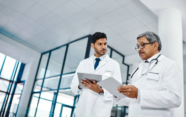 Discussing the latest advances in medicine stock photo