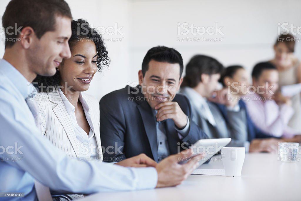 Discussing the latest data stock photo