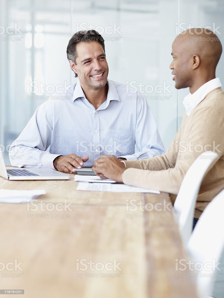 Discussing the project budget stock photo