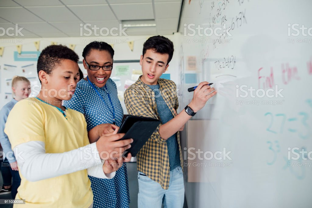 Discussing the Solution stock photo