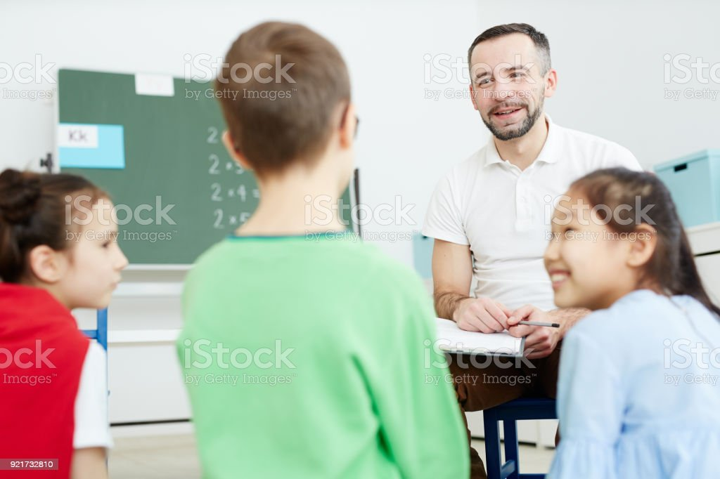 Discussion at lesson stock photo