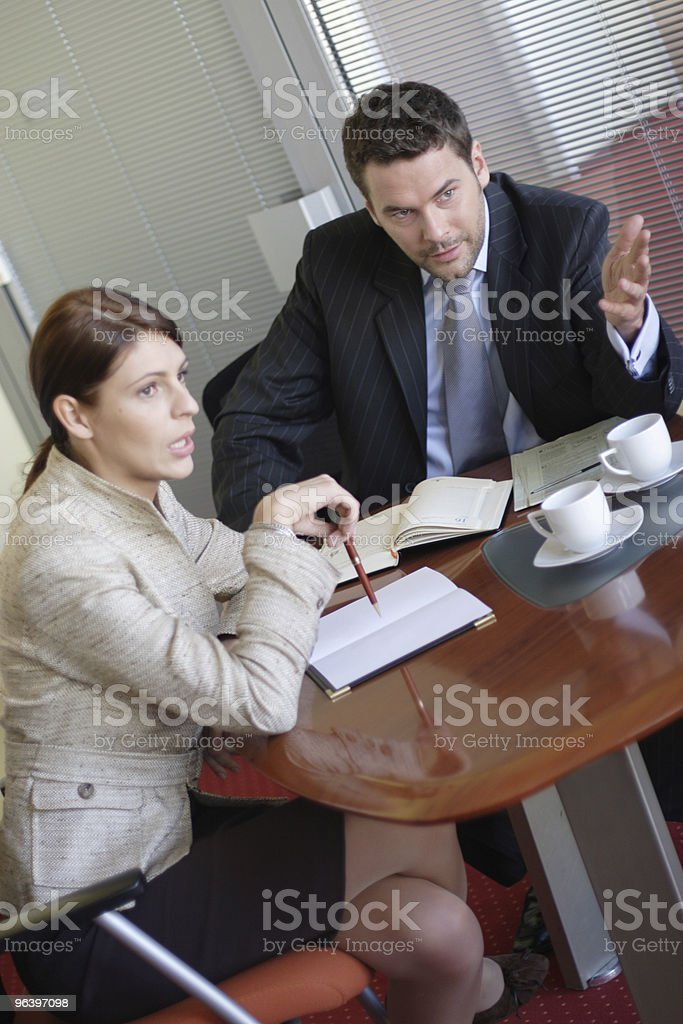 Discussion, business man and woman talking in the office - Royalty-free Adult Stock Photo
