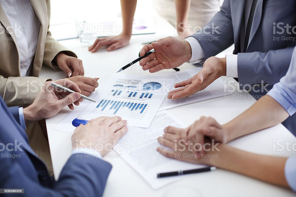 Discussion of papers stock photo