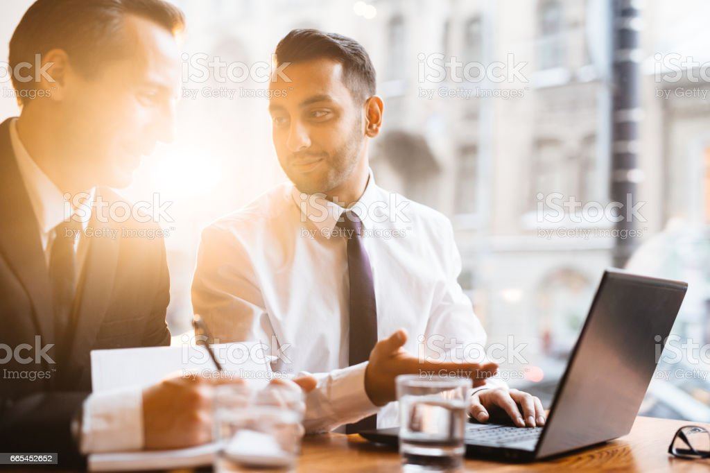 Discussion of traders stock photo