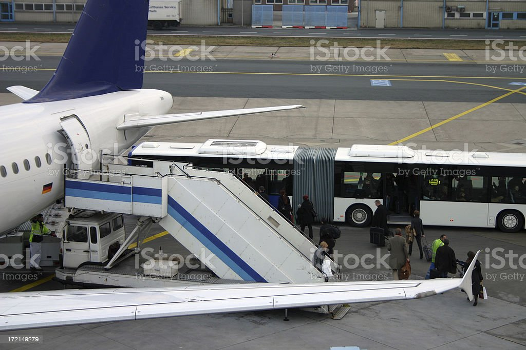 Disembarking an airliner royalty-free stock photo